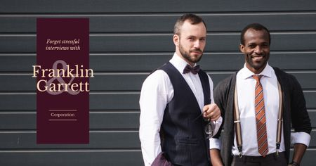 Szablon projektu Two confident businessmen in formal wear Facebook AD