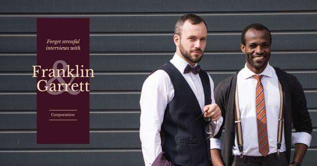 Two confident businessmen in formal wear Facebook AD – шаблон для дизайну