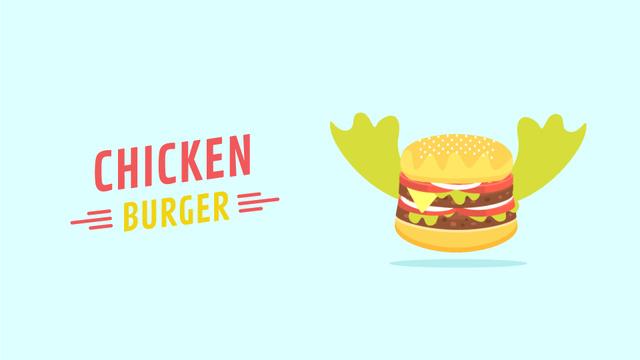 Fast Food Menu Flying Burger with Wings Full HD video Design Template