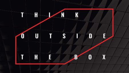 Ontwerpsjabloon van Title van Think outside the box Quote on black tiles