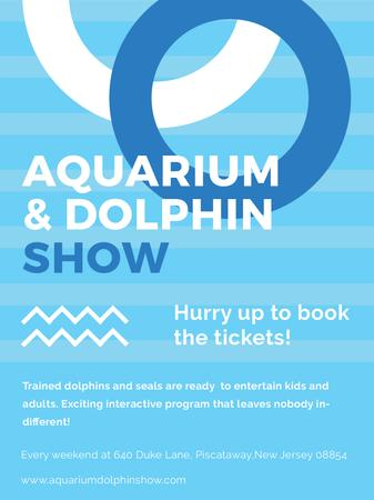 Aquarium Dolphin show invitation in blue Poster US – шаблон для дизайну