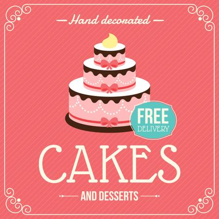 Ontwerpsjabloon van Instagram van Cakes and desserts Delivery Advertisement