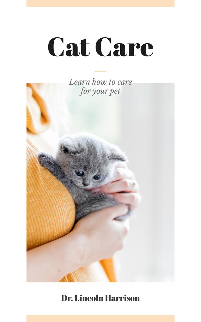 Cat Care Guide Woman Hugging Kitten Book Cover – шаблон для дизайна