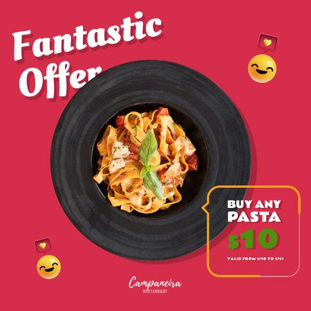 Restaurant Promotion with Italian Pasta Dish Animated Post Design Template