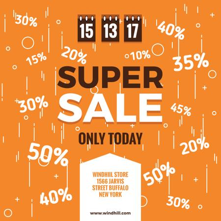 Super sale Ad on orange Instagramデザインテンプレート