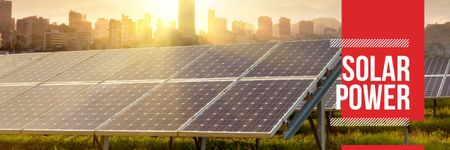 Modèle de visuel Energy Supply with Solar Panels in Rows - Email header