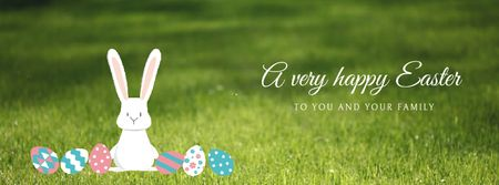 Modèle de visuel Easter Cute Bunny with Colored Eggs - Facebook Video cover