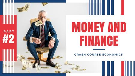 Economics Course Businessman Throwing Money Youtube Thumbnailデザインテンプレート