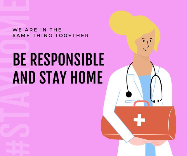 Plantilla de diseño de #Stayhome Coronavirus awareness with friendly Doctor Facebook