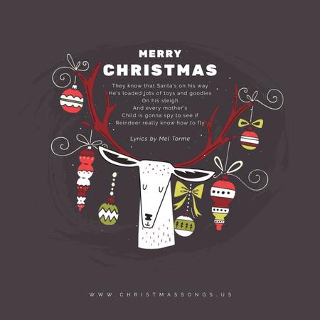 Plantilla de diseño de Christmas deer with baubles Animated Post