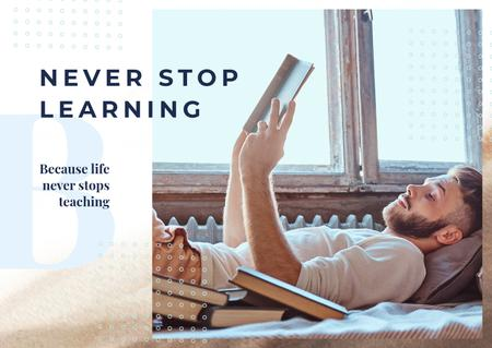 Man reading books in bed Postcard Modelo de Design