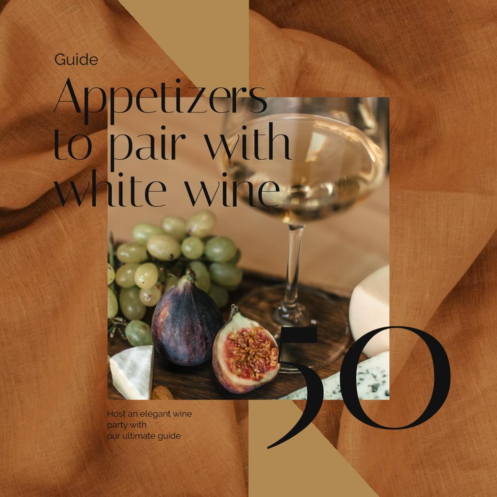 Winery Offer with White Wine with Fruits — Maak een ontwerp