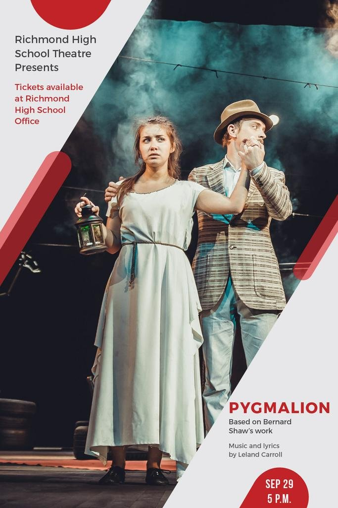 Theater Invitation Actors in Pygmalion Performance — Créer un visuel