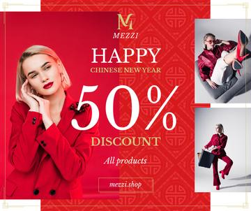 Chinese New Year Offer Woman in Red Outfit | Facebook Post Template