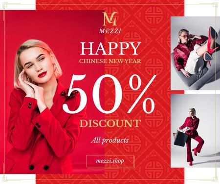 Plantilla de diseño de Chinese New Year Offer Woman in Red Outfit Facebook