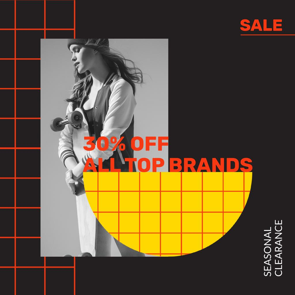 Plantilla de diseño de Fashion Seasonal Sale with Girl holding skateboard Instagram