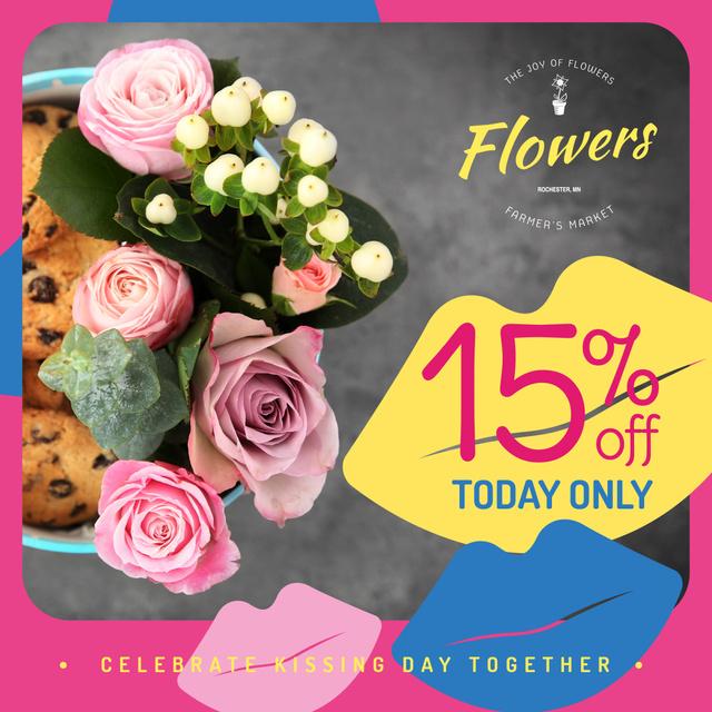 Florist Services Offer Bouquet of Flowers Instagram Design Template