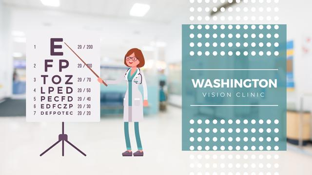 Vision Check Female Ophthalmologist in Clinic Full HD video Modelo de Design