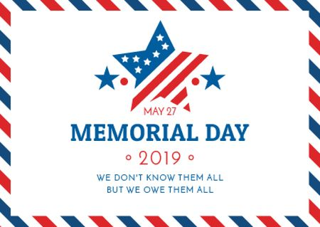 Modèle de visuel USA Memorial Day with American Stripes - Postcard