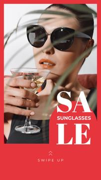 Sunglasses Sale Woman in Glasses Drinking Cocktail