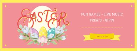 Plantilla de diseño de Colored Easter eggs with Flowers Facebook Video cover