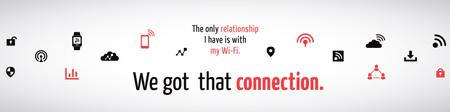 Wi-fi connection Ad with icons Twitter Modelo de Design