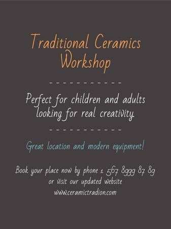 Traditional Ceramics Workshop promotion Poster US Modelo de Design