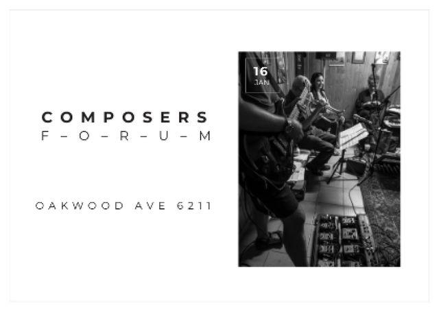Composers Forum with Musicians on Stage Postcard – шаблон для дизайну