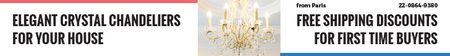 Elegant Crystal Chandelier Ad in White Leaderboard Design Template