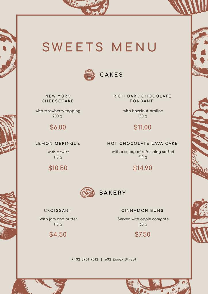 Sweets and Bakery sketches Menu Design Template
