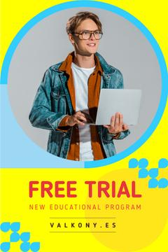 Education Courses Ad with Smiling Man with Laptop