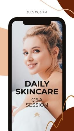 Ontwerpsjabloon van Instagram Story van Beauty Blog Ad with Young Girl on Phone screen