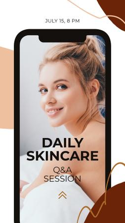Beauty Blog Ad with Young Girl on Phone screen Instagram Story Design Template