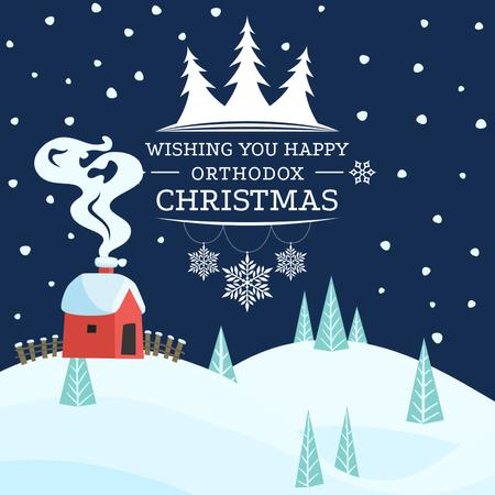 Happy Christmas Greeting with Snowy Town Instagram Design Template