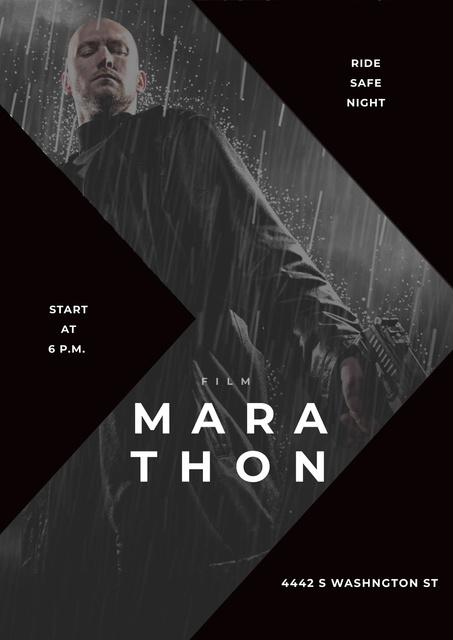 Film Marathon Ad with dangerous man holding gun Poster Modelo de Design