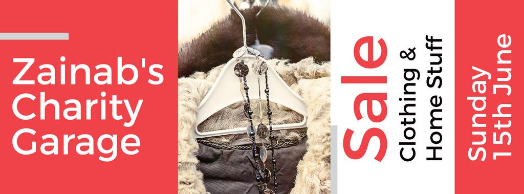 Charity Sale Announcement Clothes on Hangers   Facebook Cover Template — ein Design erstellen