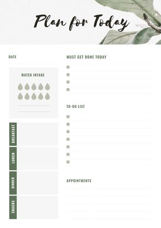 Plantilla de diseño de Day Plan on green leaves Schedule Planner