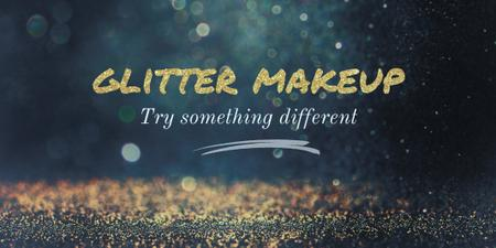Glamorous Ad with Shining Golden Glitter Twitter – шаблон для дизайна