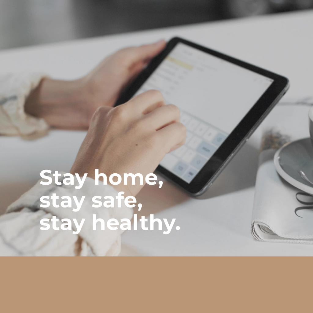 Tip to stay home with Woman using tablet — Создать дизайн