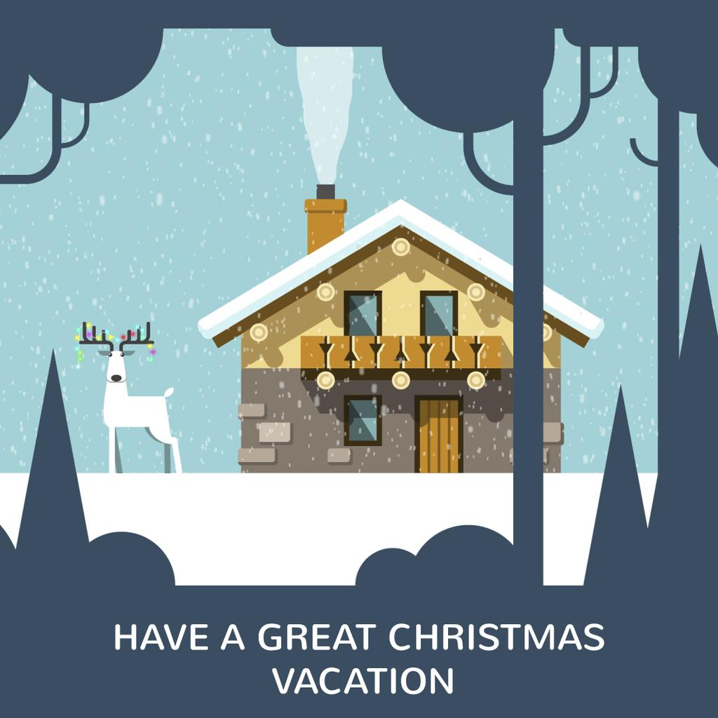 Christmas deer by house in winter — Create a Design