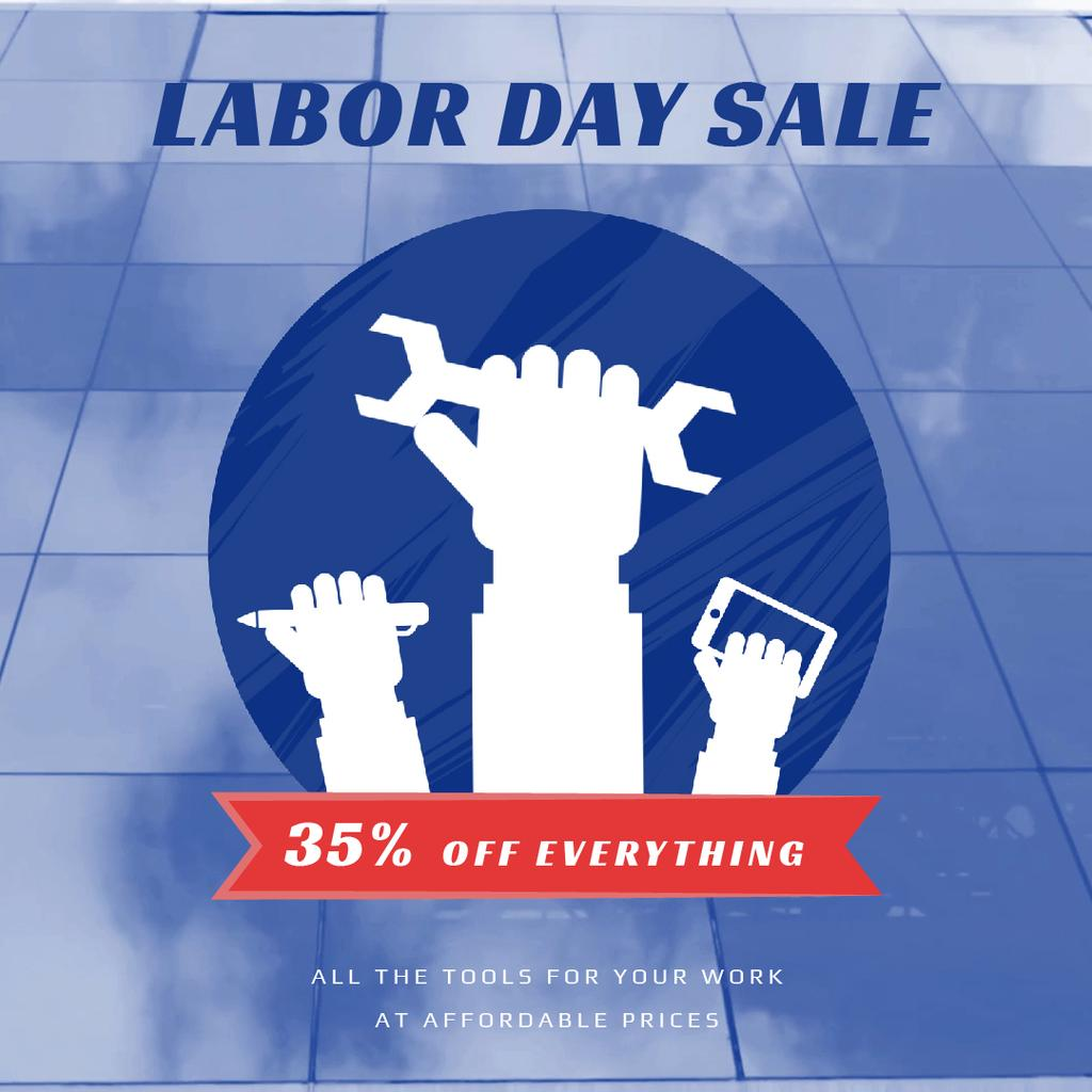 Labor Day Sale with Hands and Tools — Create a Design