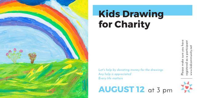 Rainbow in childish painting Twitter Modelo de Design