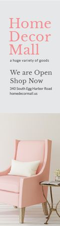 Plantilla de diseño de Home Decor Mall Ad Pink Cozy Armchair  Skyscraper