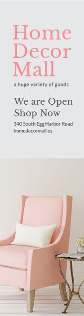 Home Decor Mall Ad Pink Cozy Armchair  Skyscraper – шаблон для дизайна