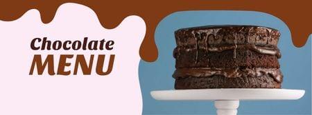 Chocolate cake dessert Facebook cover Design Template