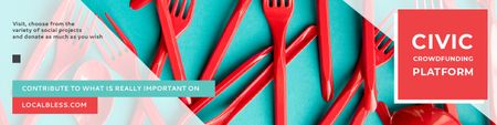 Crowdfunding Platform with Red Plastic Tableware Twitter Modelo de Design