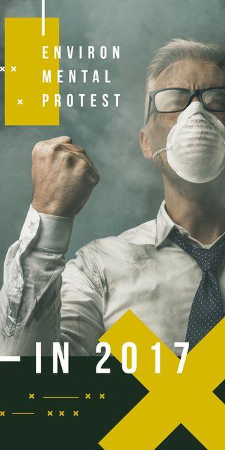 Man in protective mask for Environmental Protest Graphic Tasarım Şablonu