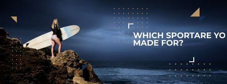 Ontwerpsjabloon van Facebook cover van Young Woman standing on Mountain cliff with surfboard