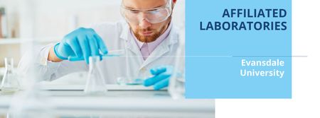 Plantilla de diseño de Affiliated laboratories in University with Scientist Facebook cover