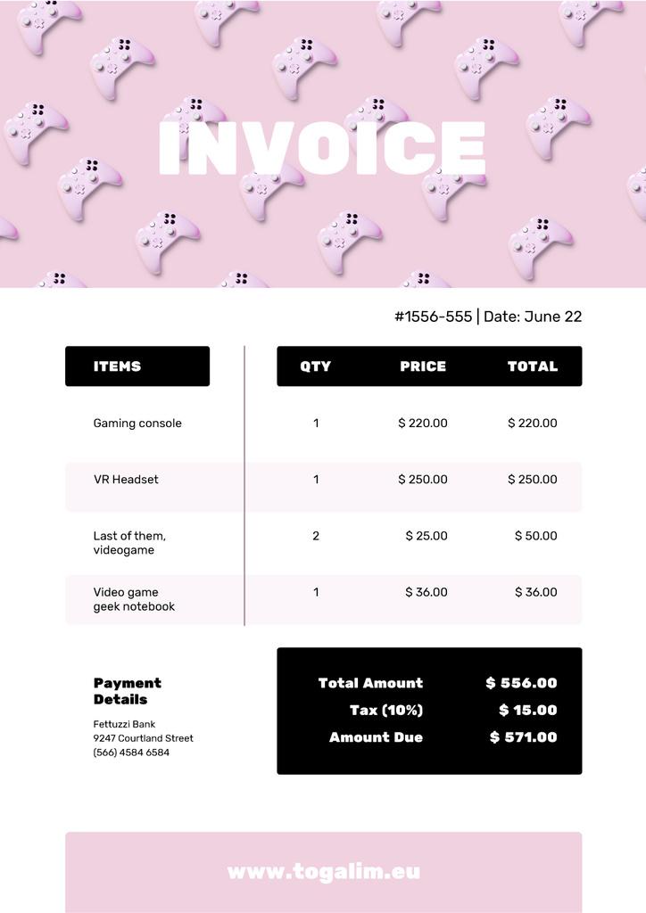 VR Items Bill on Pink Invoice – шаблон для дизайна